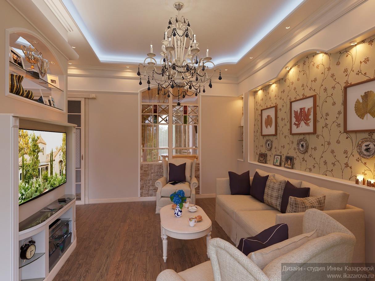 Гостиная комната с растительной росписью